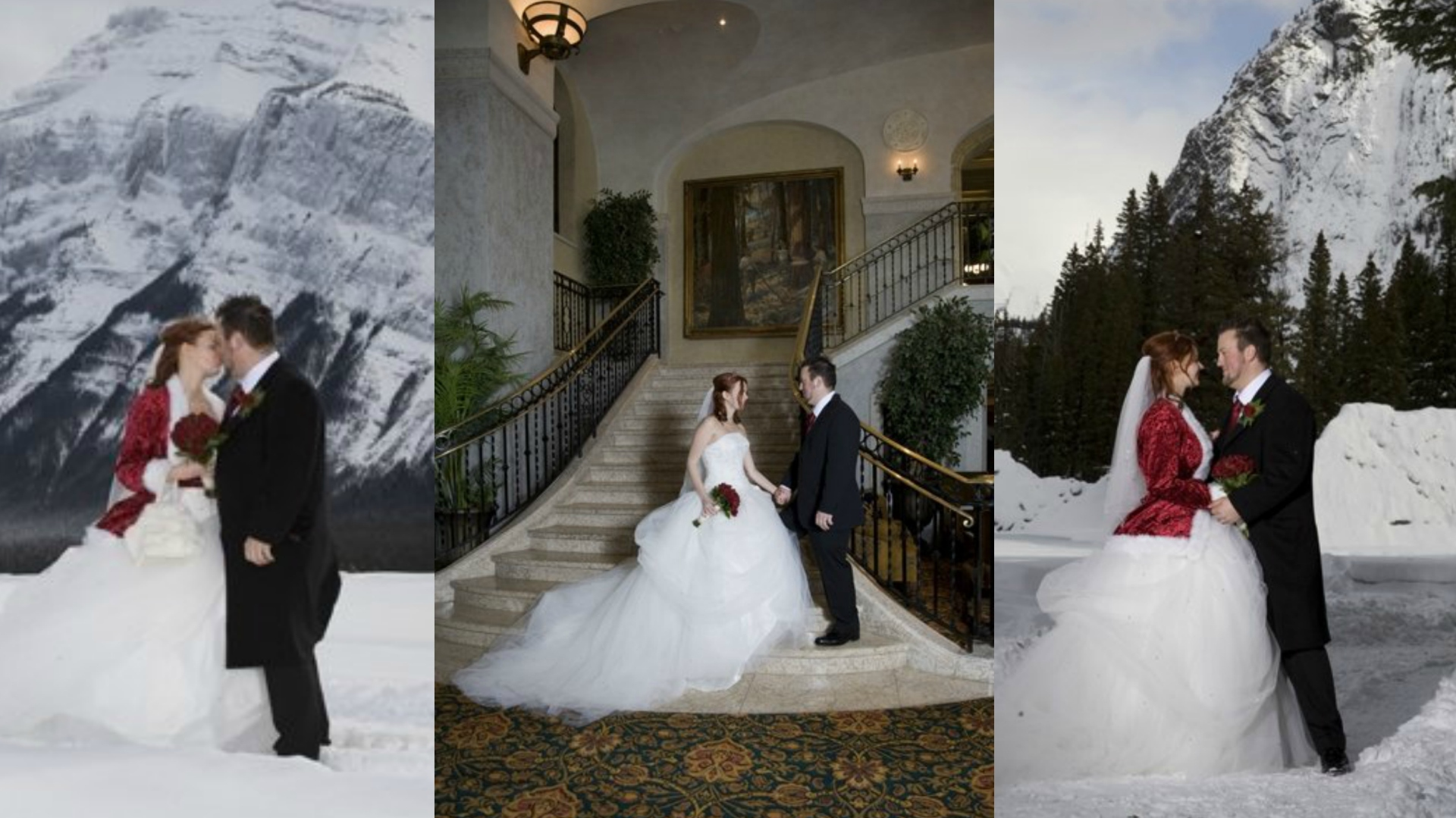 renewing vows and getting married in Banff Canada in the snow