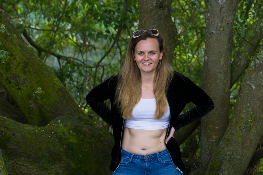 wearing a crop top in nature
